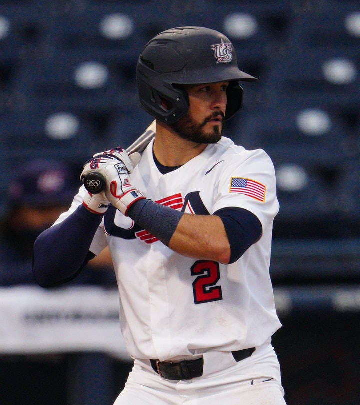 WEST PALM BEACH, FLORIDA - JUNE 04: Eddy Alvarez #2 of the United States bats against Canada during ...