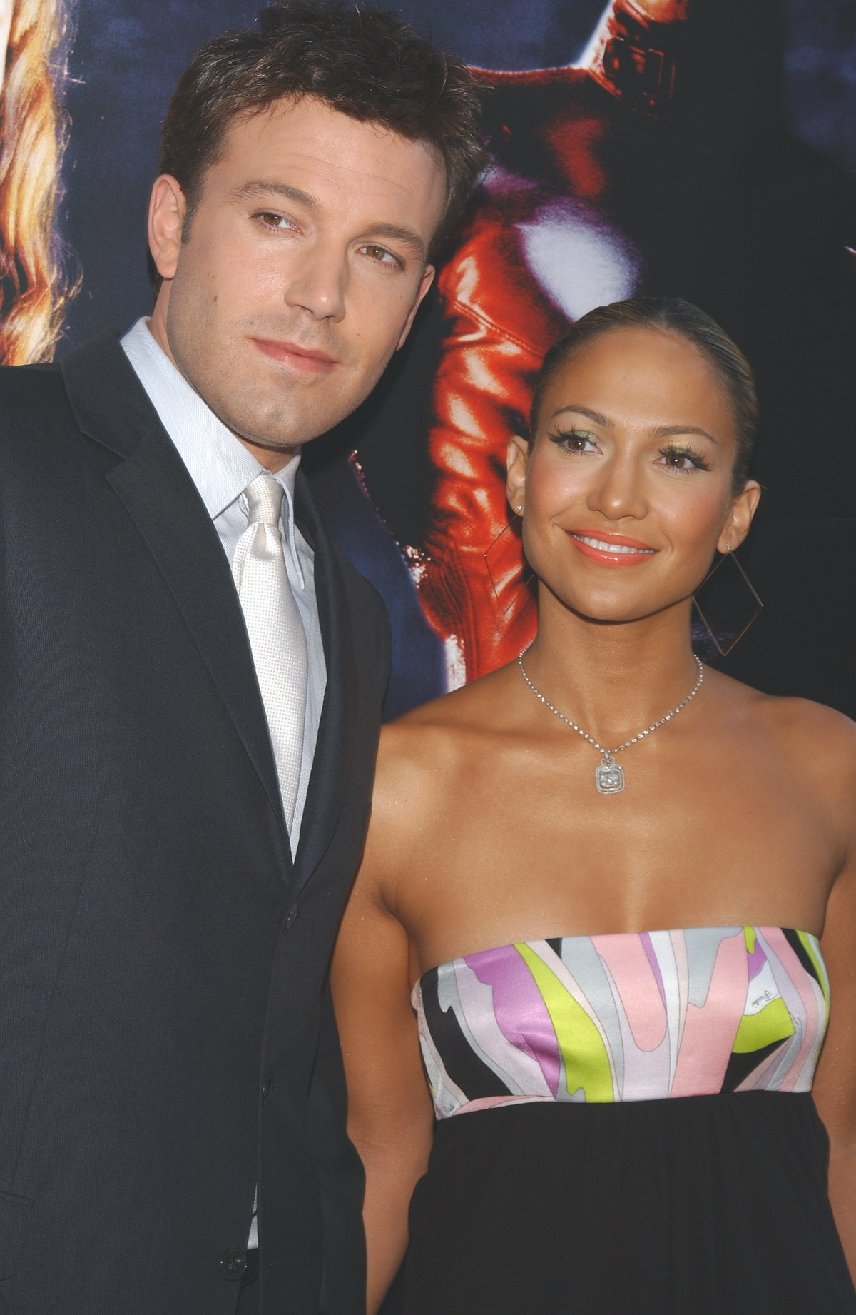 """Ben Affleck and Jennifer Lopez arriving at the premiere of """"Daredevil."""" (Photo by Frank Trapper/Corbis via Getty Images)"""