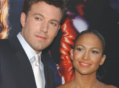 """Ben Affleck and Jennifer Lopez arriving at the premiere of """"Daredevil."""" (Photo by Frank Trapper/Corb..."""