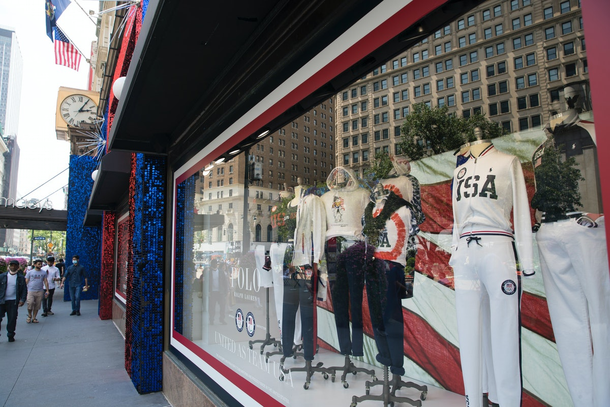 NEW YORK, NY - JULY 14: Ralph Lauren's Team USA uniforms for the Tokyo 2020 Olympics are displayed i...