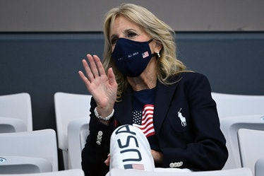 Check out these photos of Jill Biden wearing Team USA clothes at the Olympics.