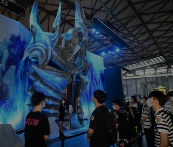 SHANGHAI, CHINA - JULY 31: People visit the Blizzard Entertainment stand during the 2020 China Digit...