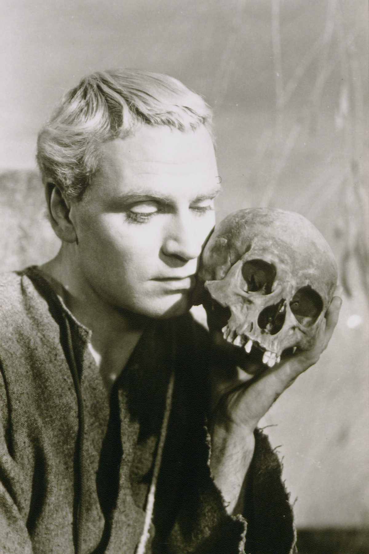 British actor Laurence Olivier on the set of Hamlet, based on the play by William Shakespeare and di...