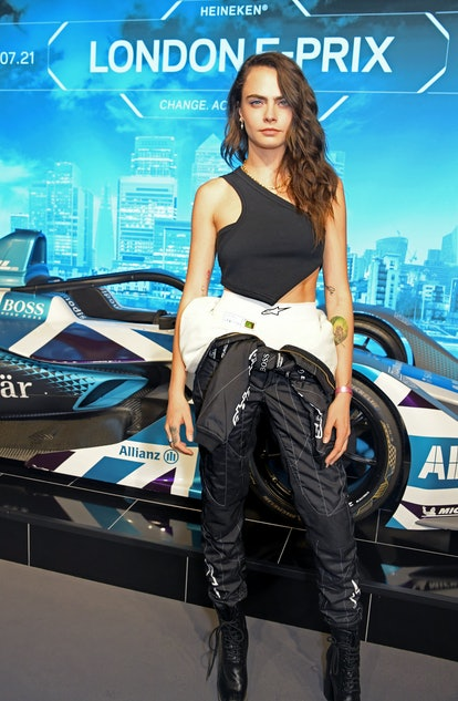 LONDON, ENGLAND - JULY 24:  Cara Delevingne attends the ABB FIA Formula E Heineken London E-Prix at ...