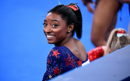 -TOKYO,JAPAN July 24, 2021: USAs Simone Biles smiles in between sessions in the womens team qualifyi...