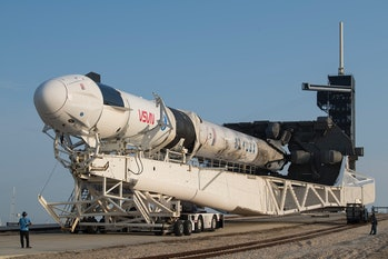 CAPE CANAVERAL, FLORIDA - APRIL 16: A SpaceX Falcon 9 rocket with the company's Crew Dragon spacecra...