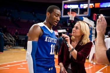 NEW YORK, NEW YORK - DECEMBER 09: ESPN commentator Doris Burke interviews John Wall #11 of the Kentu...
