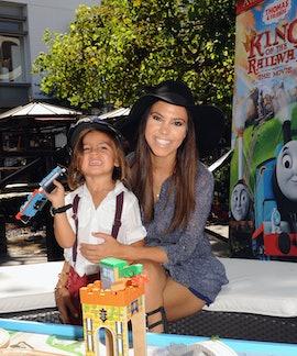 "LOS ANGELES, CA - SEPTEMBER 15:  Kourtney Kardashian (R) and son Mason attend the ""Thomas & Friends:..."