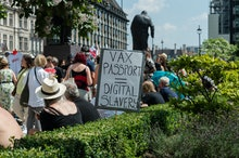 LONDON, UNITED KINGDOM - JULY 19: Demonstrators protest against lockdowns and Covid-19 vaccines in P...