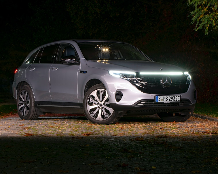 Berlin, Germany – 21 October, 2019:  Mercedes-Benz EQC stopped on a street at night. This model is t...