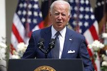 WASHINGTON, DC - JULY 26: U.S. President Joe Biden delivers remarks during an event in the Rose Gard...