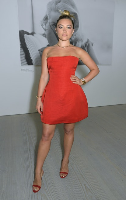 """LONDON, ENGLAND - JULY 21:  Florence Pugh attends a private view of """"Studio 7 By Cartier"""" at The Saa..."""