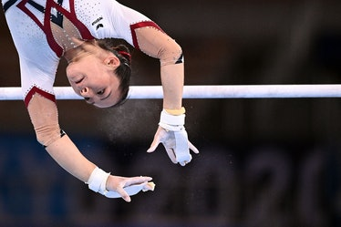 Germany's Kim Bui competes in the uneven bars event of the  artistic gymnastics women's qualificatio...