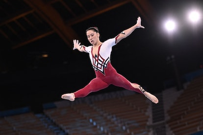 Germany's Kim Bui competes in the artistic gymnastics balance beam event of the women's qualificatio...