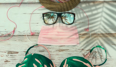 """The new summer accessory for this year, """"the medical mask"""" Women's swimsuit, hat, sunglasses, headph..."""
