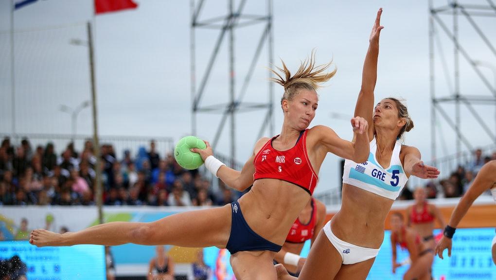 KAZAN, RUSSIA - JULY 29: Martinsen Marielle Elisabeth Mathisen (l) of Norway plays a shot during 201...