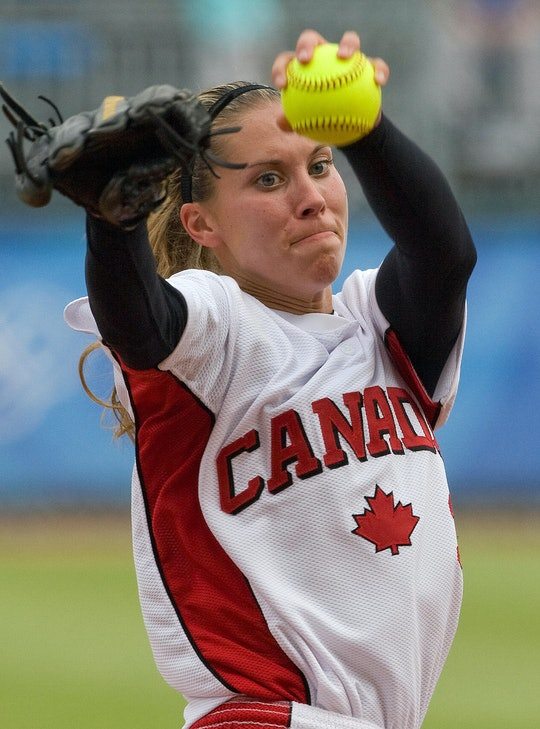 Canada's opener pitcher Lauren Bay Regula throws during the third inning of their semifinal softball...