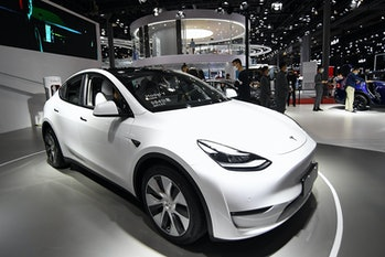 SHANGHAI, CHINA - APRIL 20:  A Tesla Model Y car is on displayed during the 19th Shanghai Internatio...