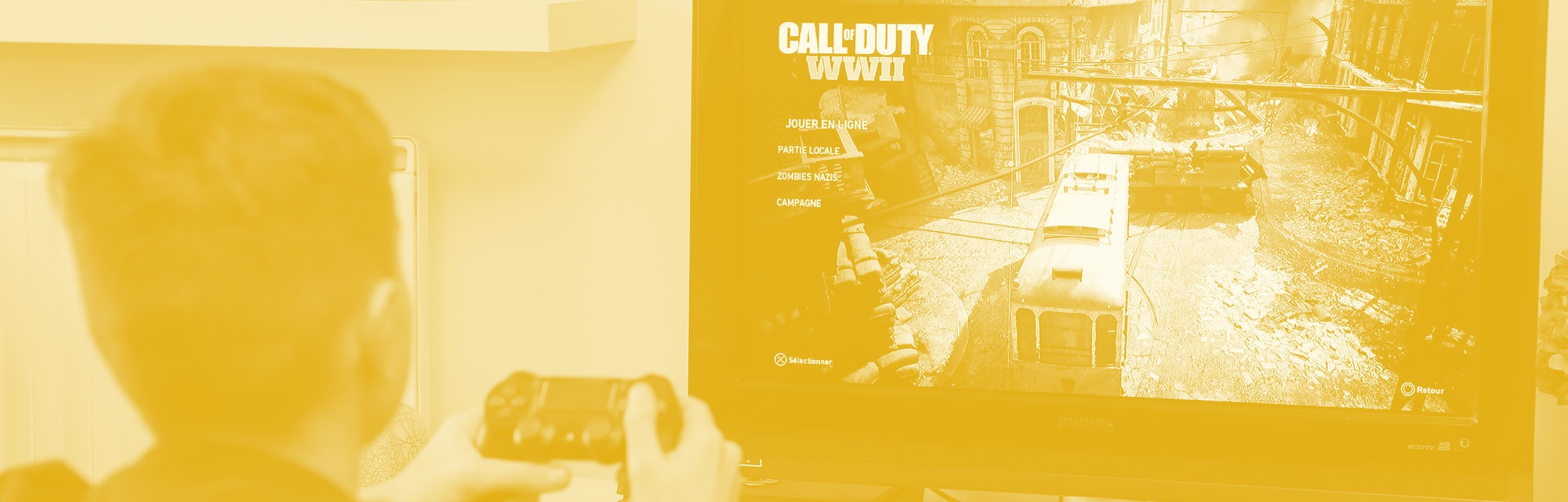 PARIS, FRANCE - DECEMBER 19: In this photo illustration a gamer plays the video game 'Call of Duty: ...