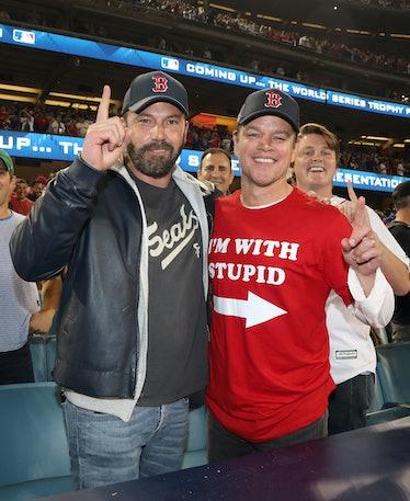 LOS ANGELES, CA - OCTOBER 28:  Ben Affleck and Matt Damon attend te 2018 World Series Boston Red Sox...