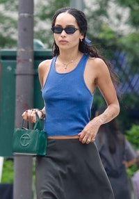 NEW YORK CITY, NY - JULY 25: Zoe Kravitz is seen on July 26, 2021 in New York City, New York. (Photo by LRNYC/MEGA/GC Images)