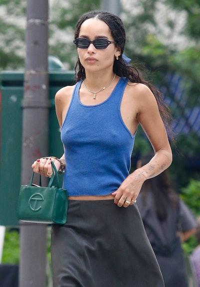 NEW YORK CITY, NY - JULY 25: Zoe Kravitz is seen on July 26, 2021 in New York City, New York. (Photo...