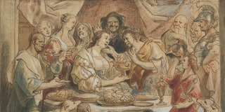 The Banquet of Anthony and Cleopatra, 17th century. Artist Jacob Jordaens. (Photo by Heritage Art/He...