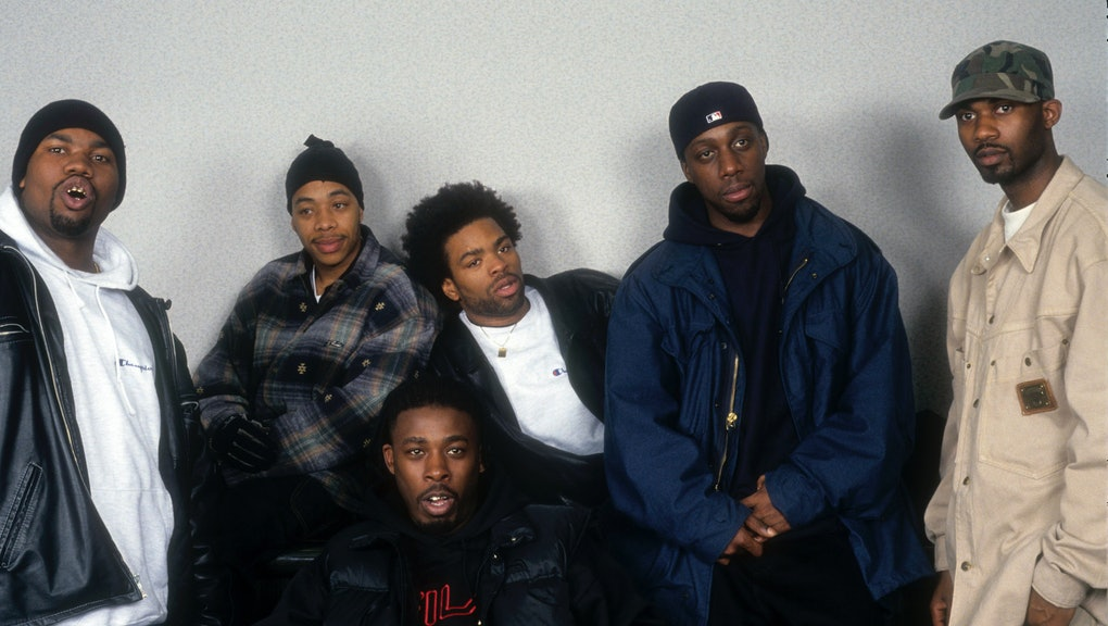 NEW YORK - APRIL 1: Rap Group The Wu-Tang Clan pose for a portrait on April 1, 1994 in New York City...