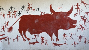 Replicas of prehistoric Wall Paintings on the wall of a sample ancient house of Catalhoyuk in Konya,...