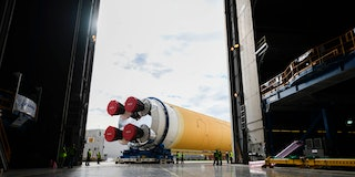 This NASA photo released on January 6, 2020 shows NASAs powerful new rocket, the Space Launch System...