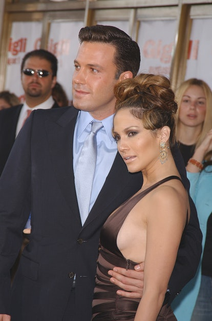 """Ben Affleck and Jennifer Lopez arriving at the premiere of """"Gigli"""". (Photo by Frank Trapper/Corbis v..."""