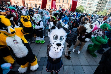 Revellers dressed as animals take part in a fuzzcon parade on February 21, 2020, in Malmo, Sweden, w...