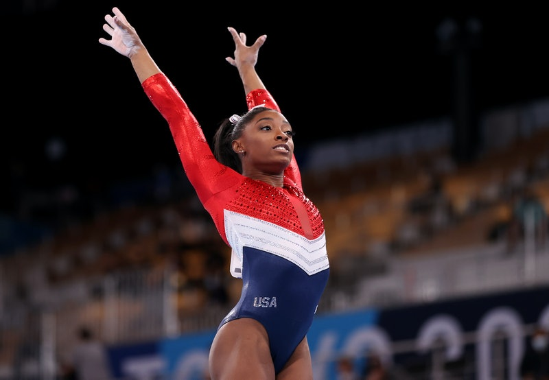 TOKYO, JAPAN - JULY 27: Simone Biles of Team United States competes on vault during the Women's Team...