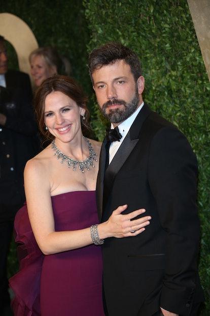 Actors Ben Affleck and his wife Jennifer Garner arrive at the Vanity Fair Oscar Party at Sunset Towe...