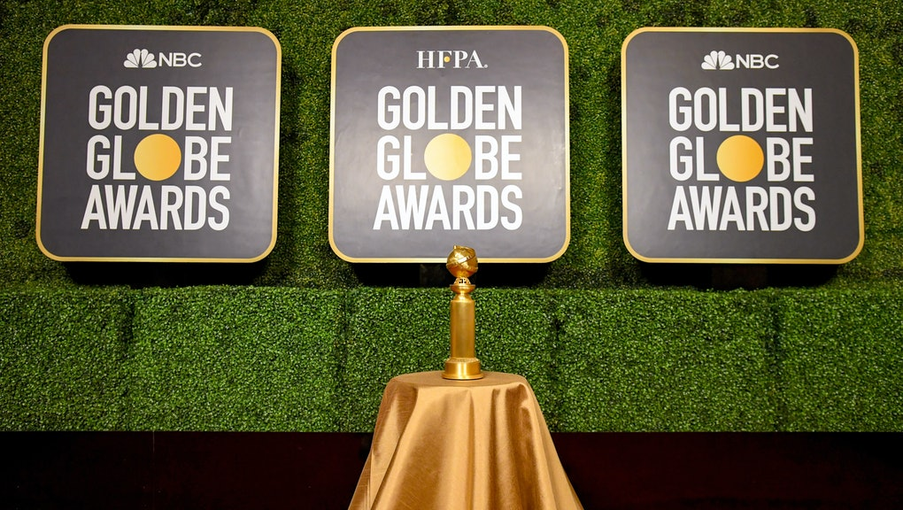NEW YORK, NEW YORK - FEBRUARY 27: A view of the Golden Globe Trophy on display during the 78th Annua...