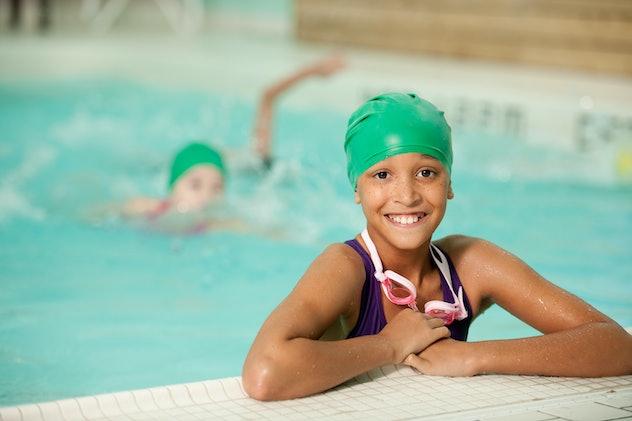 A children's swim team at the pool
