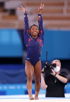 Simone Biles of the United States competes during the Women's Qualification at the Tokyo 2020 Olympi...