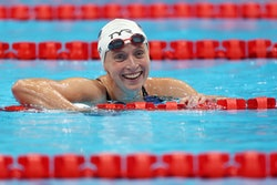 TOKYO, JAPAN - JULY 25: Katie Ledecky of Team United States competes in heat three of the Women's 40...