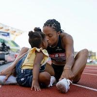 EUGENE, OREGON - JUNE 20: Allyson Felix celebrates with her daughter Camryn after finishing second i...