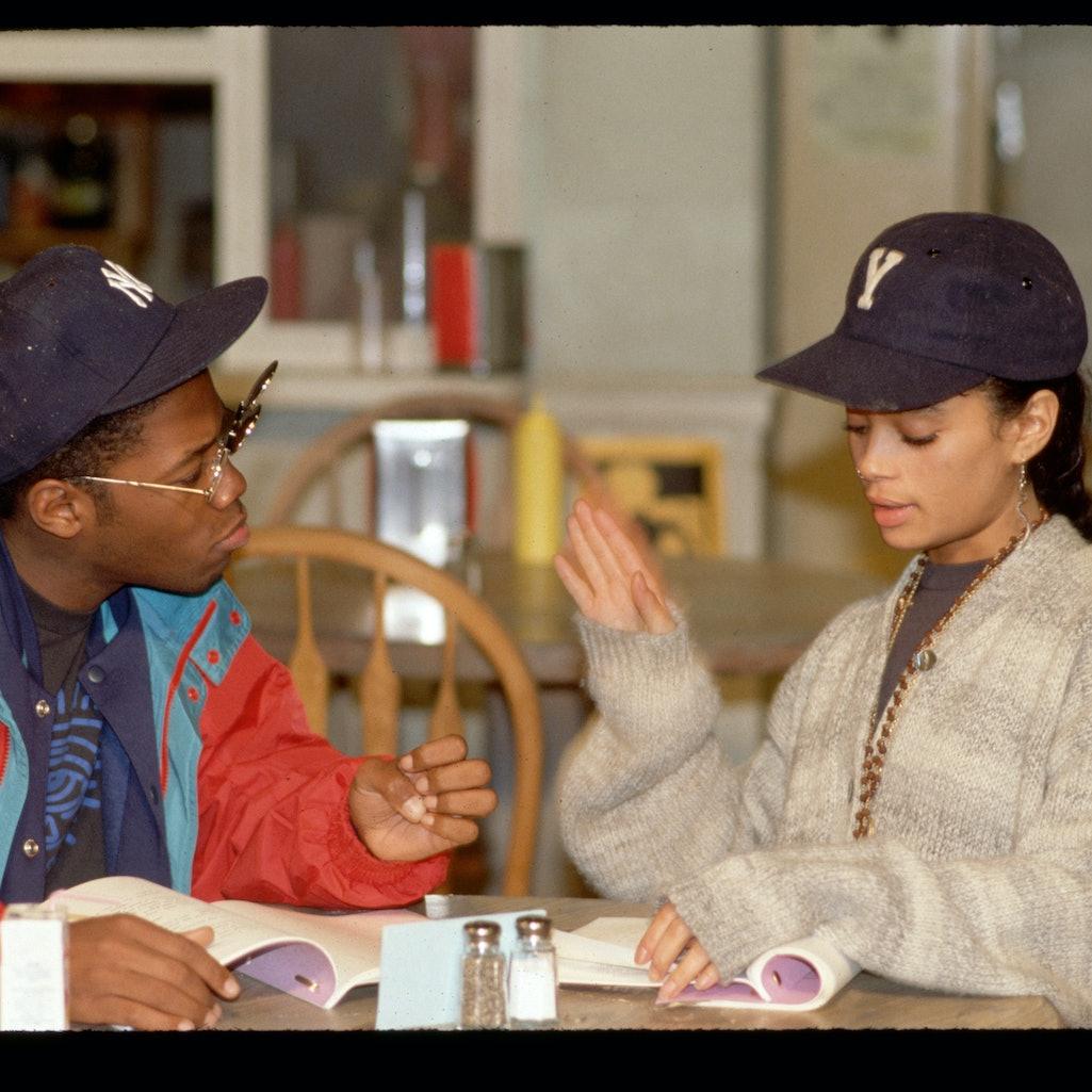 "Lisa Bonet and Kadeem Hardison read a scene together on the set of ""A Different World."""
