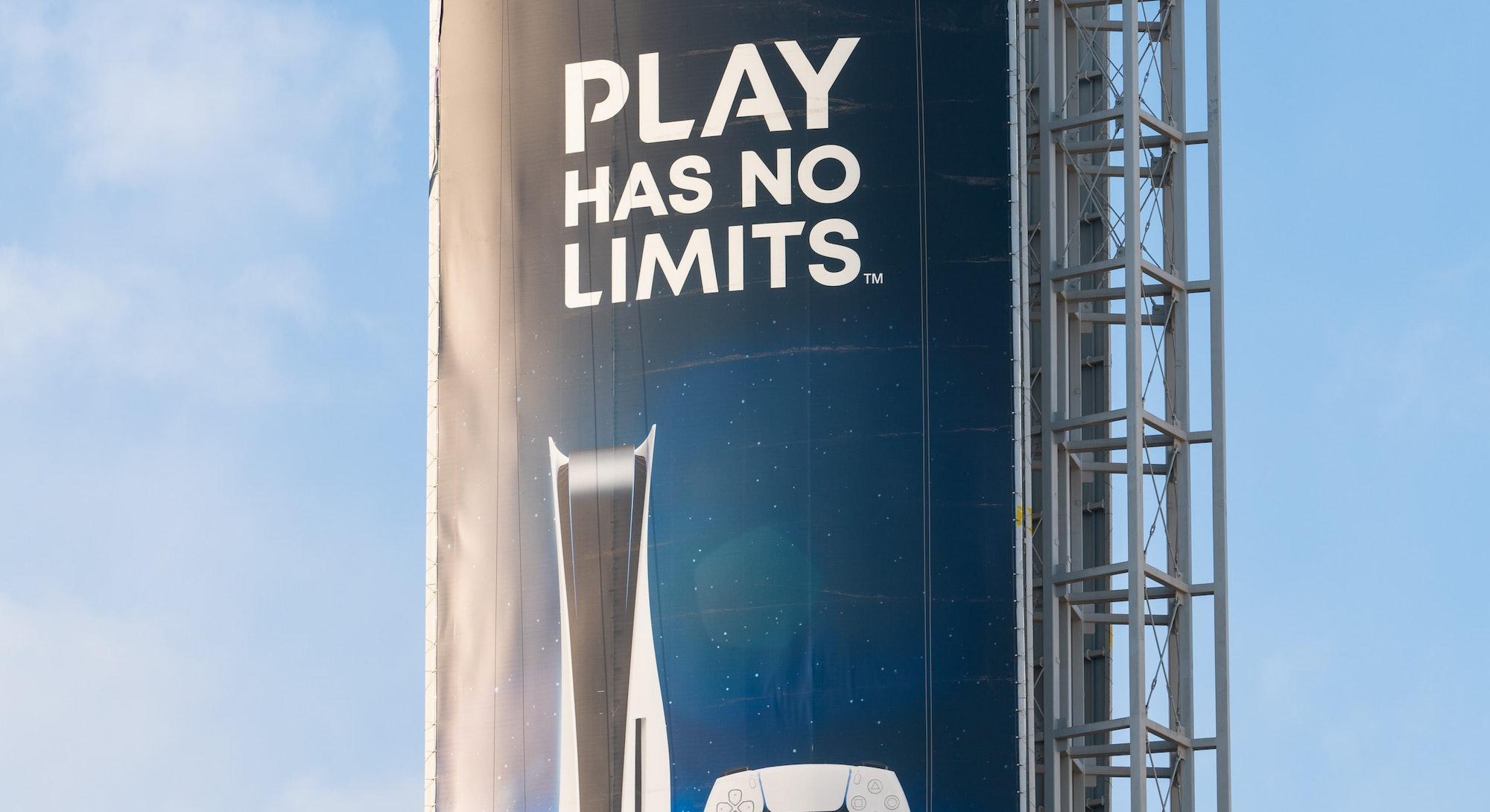 HOLLYWOOD, CA - NOVEMBER 08: General views of the new Sony PlayStation 5 billboard at Hollywood & Hi...
