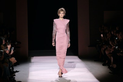 NEW YORK, NY - SEPTEMBER 06:  Gigi Hadid walks the runway at the Tom Ford Spring/Summer 2018 Runway Show during New York Fashion Week at the Park Avenue Armory on September 6, 2017 in New York City.  (Photo by Randy Brooke/Getty Images)