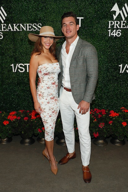 Camila Kendra and Tyler Cameron attend Preakness 146 on May 15, 2021 in Baltimore, Maryland.