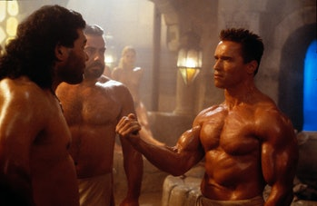 """Arnold Schwarzenegger and Sven-Ole Thorsen in """"Red Heat"""", directed by Walter Hill, 1988 (Photo by Ro..."""