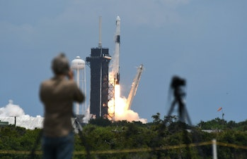 CAPE CANAVERAL, FLORIDA, UNITED STATES - 2021/06/03: A SpaceX Falcon 9 rocket with a Dragon 2 spacec...