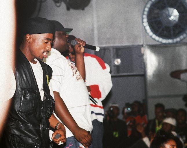 NEW YORK - JULY 23:  Rappers Tupac Shakur, The Notorious B.I.G. aka Biggie Smalls (Christoper Wallac...