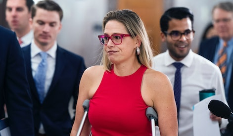 UNITED STATES - JUNE 16: Sen. Kyrsten Sinema, D-Ariz., arrives for a Senate Homeland Security and Governmental Affairs Committee markup in Dirksen Building on Wednesday, June 16, 2021. (Photo By Tom Williams/CQ-Roll Call, Inc via Getty Images)