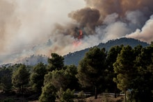 Firefighters and volunteers are working to stop the wildfire in the counties of Anoia and Conca de B...