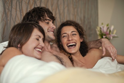 Men often fantasize about having threesomes with two women.