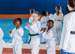 A multi-ethnic group of children, 6 to 9 years old, taking a taekwondo class. They are standing in a...